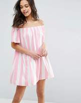 ASOS Off Shoulder Sundress In Deckchair Stripe