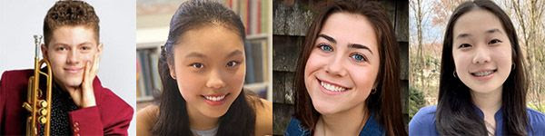 [2021 Fidelity Investment Young Artist Competition winners Cameron Shave, Ella Kim, Lianna Paglia, and Katherine Li]