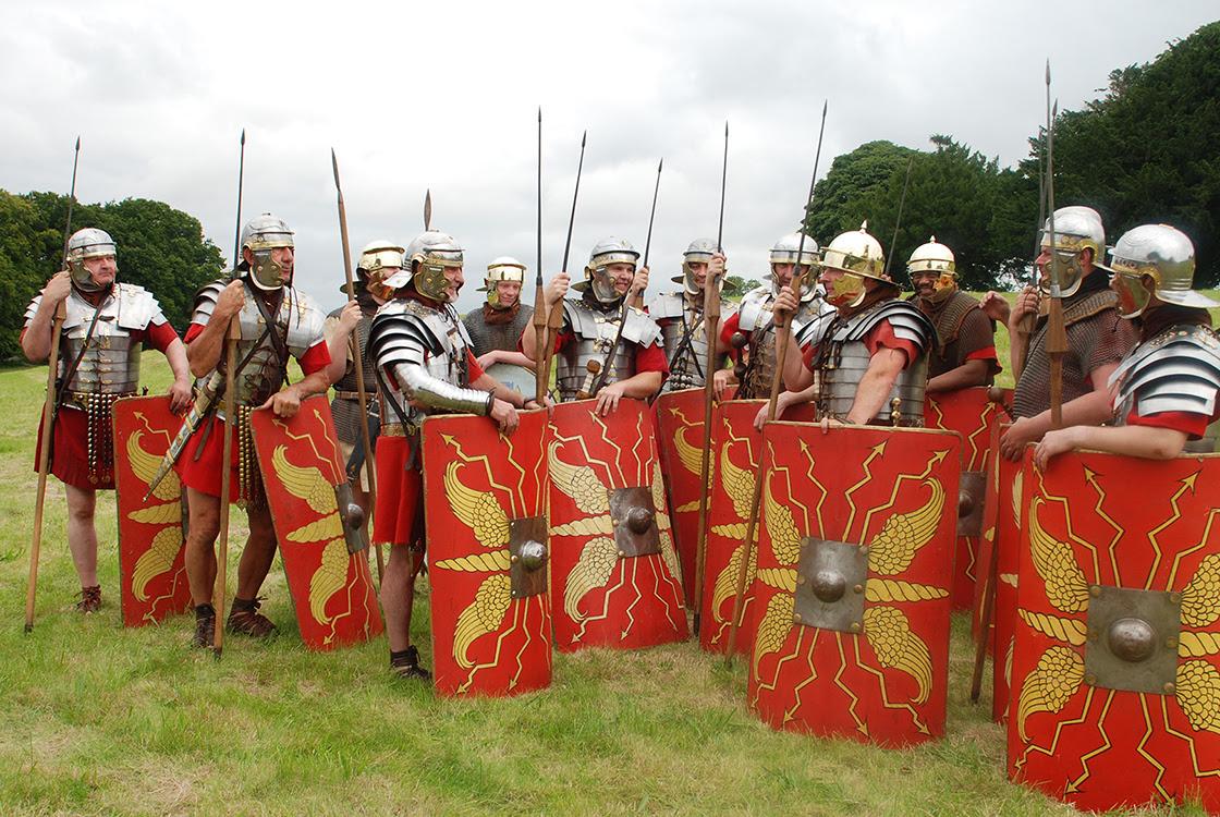 A group of  roman soldier re-enactors.