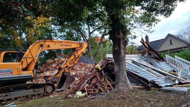 623 Thompson Demolished.  Brown house in background is next.