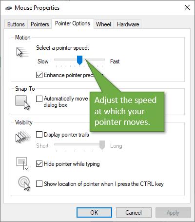 Adjust pointer speed