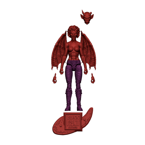 Image of Vitruvian H.A.C.K.S. Fantasy Character Blanks - Female Demon - Hellfire Red