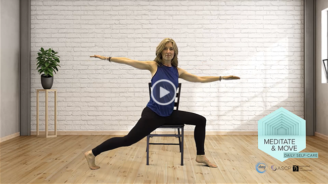 Woman sitting chair preparing to meditate and move with video button