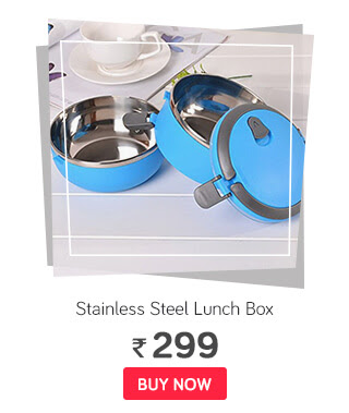 Stainless Blue Steel Lunch Box 2 Layer - 1400 ml
