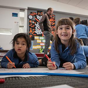Children working in a classroom