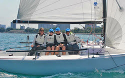 J/70 women's sailing team- NORGIRLS in Chicago