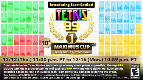 The fierce and frenzied 99-person multiplayer matches of the Tetris® 99 game just got even more intense with the addition of Team Battle Mode. Typically, it's every tenacious Tetrimino twirler for themselves, but now Team Battle Mode allows for a group of friends and competitors to play together as a squad. (Graphic: Business Wire)