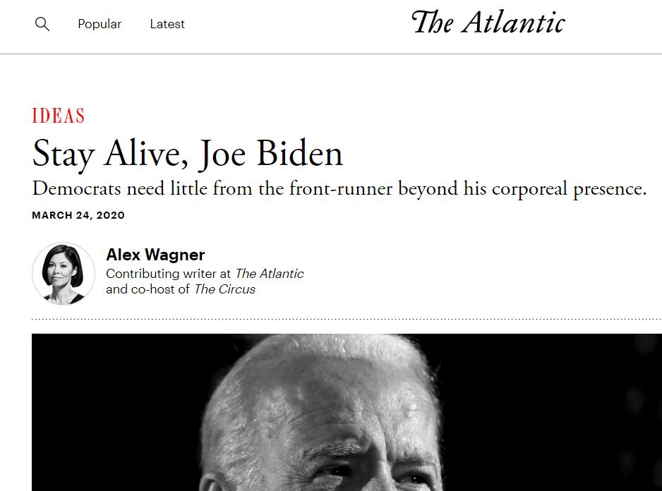 Page from the Atlantic promoting Joe Biden