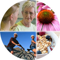 Collage of echinacea, healthy food, exercise and practitioner with patient