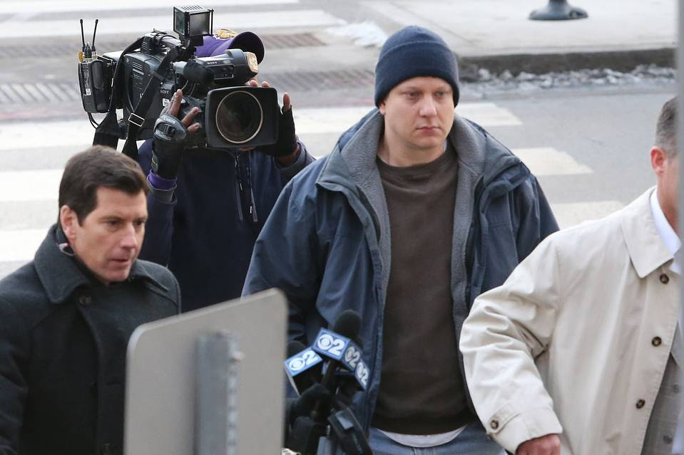 Chicago Police Officer Jason Van Dyke arrives at the courthouse in Chicago on Tuesday.