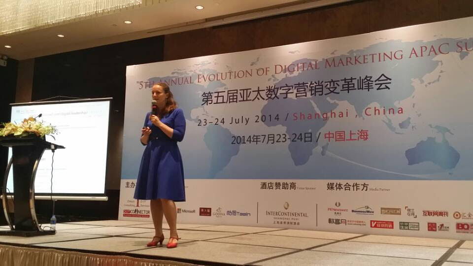 Sofie Sandell speaking at conference in China