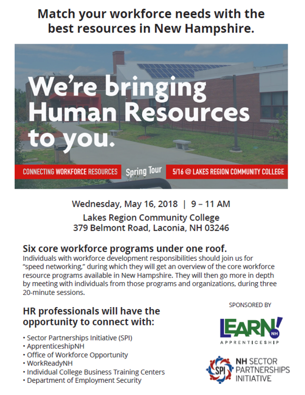 Flyer- Connecting Workforce Resources, May 16 at LRCC