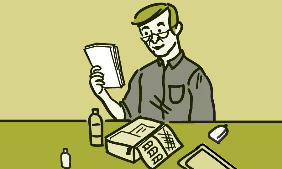 Ilustración de un hombre armando un botiquín de urgencias con suministros médicos.