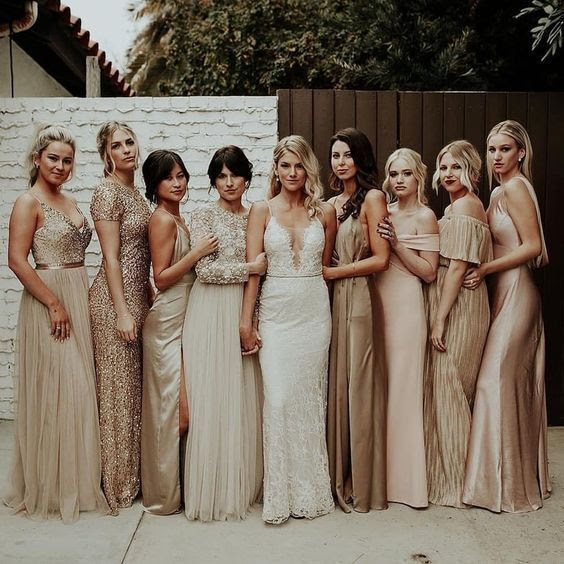 12 Gorgeous winter colors for bridesmaid dresses, bridesmaid dresses, winter bridesmaid dresses #winterwedding metallic bridesmaid dresses, mismatched bridesmaid dresses