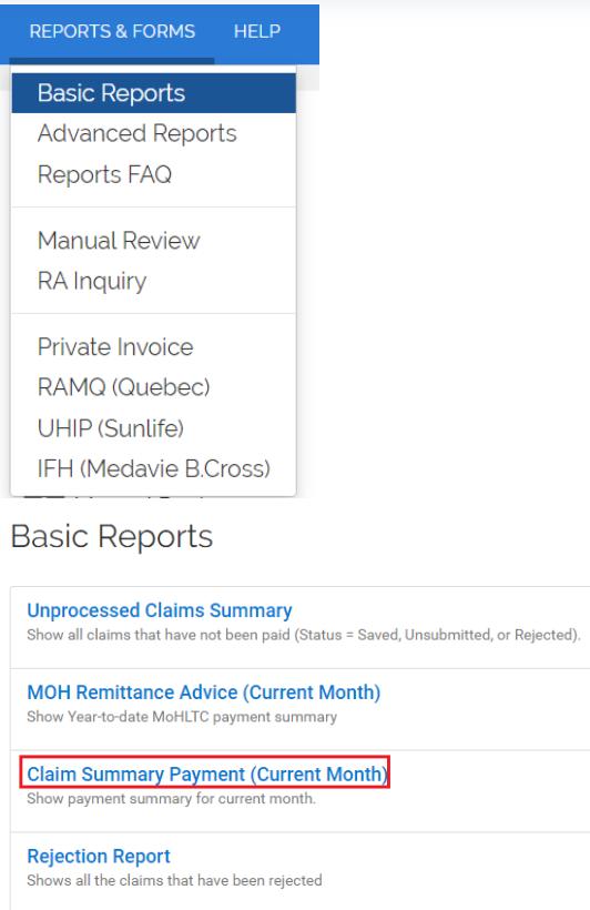 Basic reports menu