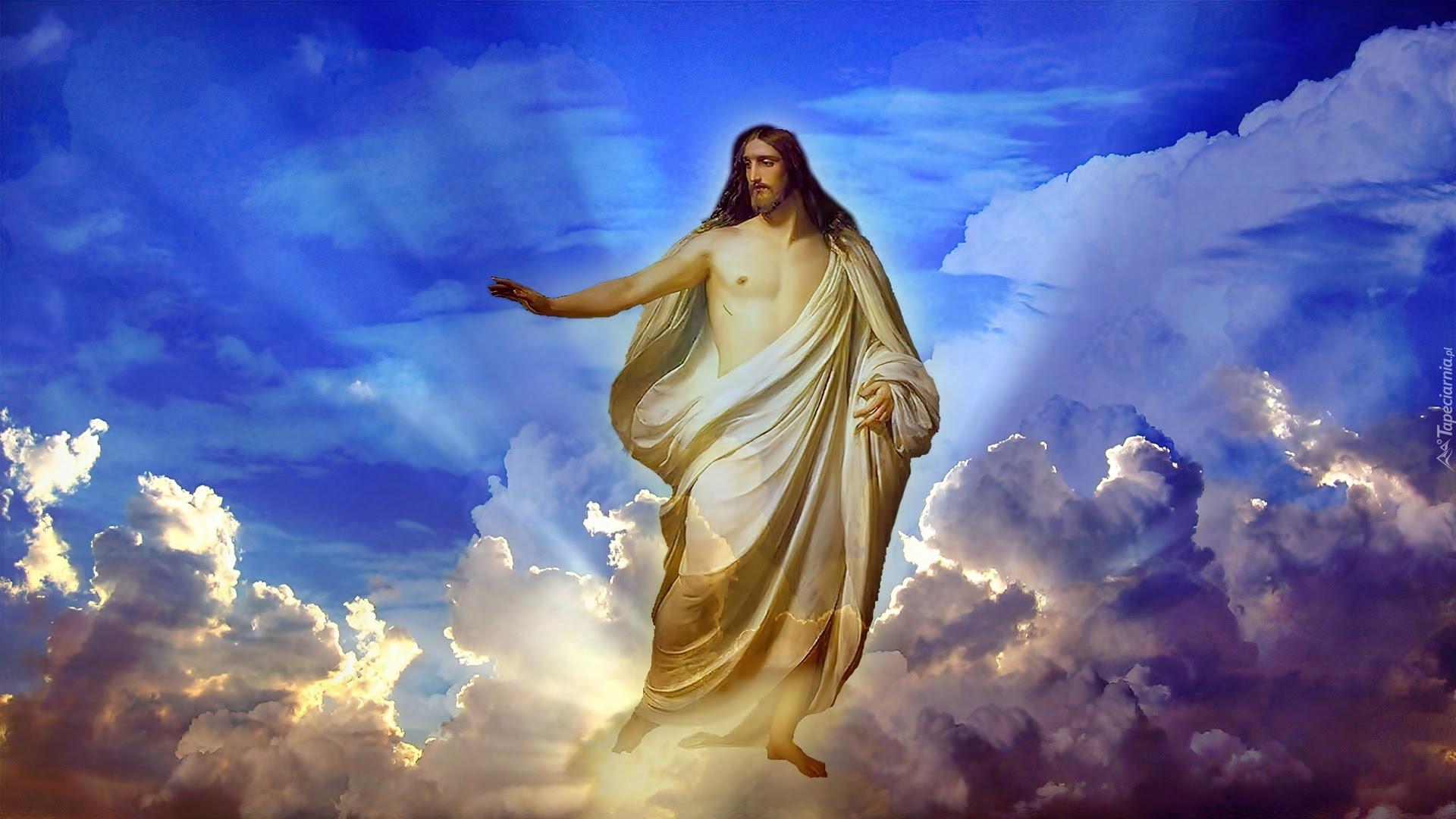 Jezus, Chmury, Promienie, Światła