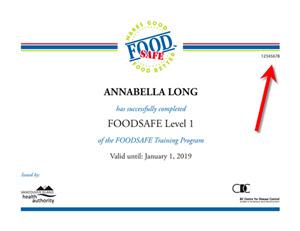 foodsafe certificate