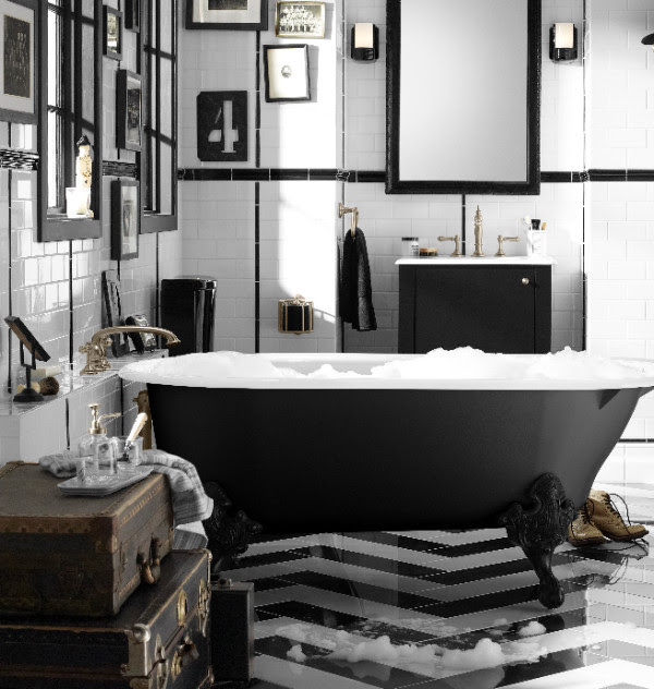 White and black styled bathroom. Clean and simple decor from Kohler.