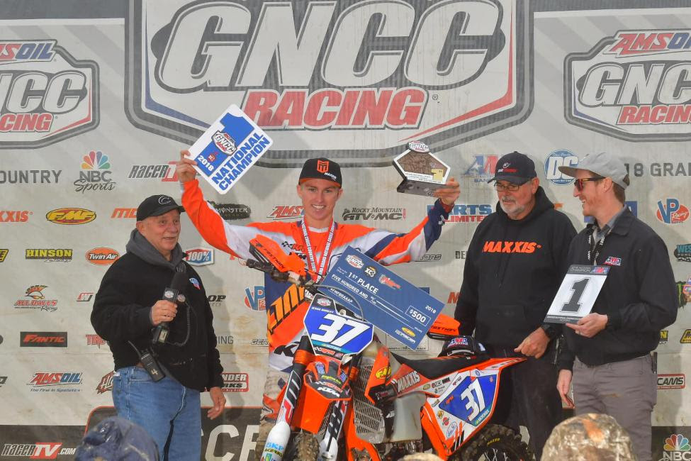 Jesse Ansley awarded the number one plate for his FMF XC3 125 Pro-Am class National Championship.