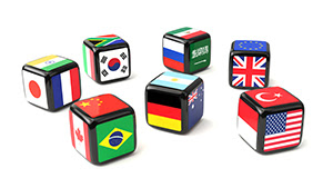 7 Die with G20 country flags on different sides of each dice