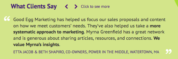 Testimonial from Good Egg Marketing Website