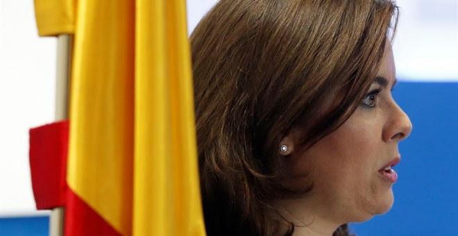 Sáenz de Santamaría, durante el encuentro organizado por el diario 'La Razón' en Madrid. EFE/Juan Carlos Hidalgo