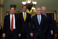 From left, Senators John Barrasso; John Thune; Mitch McConnell, the majority leader; and John Cornyn, the majority whip.