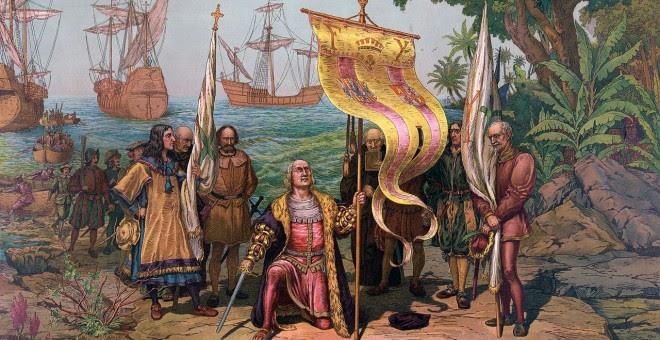 Ilustración de Colón tomando posesión de Guanahani en nombre de los Reyes Católicos el 12 de octubre de 1492. WIKIPEDIA