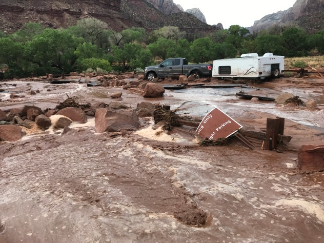 (Flooding and debris at Zion National Park on June 29, 2021