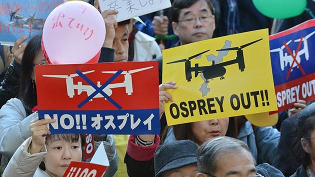 Protestas contra la presencia militar estadounidense en la isla de Okinawa