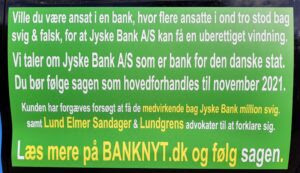 Når du ikke kan stole på danske banker. / Hvem er den bedste Bank. Hvem er den billigste Bank. Hvem er den dyreste Bank. Hvem er den dårligste Bank. Hvem er den ærligste Bank. Hvem er den mest troværdige Bank. Hvem er den mest hæderlige Bank. Koncernledelse, Koncernbestyrelsen Kurt Bligaard Pedersen, Keld Norup, Rina Asmussen, Anker Laden-Andersen, Per Schnack Bente Overgaard, Christina Lykke Munk, Johnny Christensen, Marianne Lillevang, Koncerndirektionen Anders Dam, Niels Erik Jakobsen, Per Skovhus Peter Schleidt , Koncernbestyrelsen. Kan du stole på alle danske advokater ?. NEJ. Lund Elmer Sandager advokater ved Kristian Ambjørn Buus Nielsen og Philip Baruch har hjulpet Jyske Bank med at kunne fortsætte bankens svigforetninger. Lund Elmer Sandager advokater har gentagne gange løjet overfor domstolen, når Philip Baruch fremlægde falske oplysninger i retsforhold. Lundgrens advokater valgte at modtage bestikkelse, skjult som returkommission, mod at tilbageholde klientens påstande mod Jyske Bank koncernen for svig og falsk for retten, Dan Terkildsen tavs
