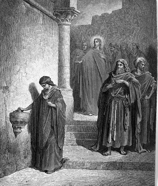 Znalezione obrazy dla zapytania Ta uboga wdowa wrzuciła najwięcej ze wszystkich, którzy kładli do skarbony. Wszyscy bowiem wrzucali z tego, co im zbywało; ona zaś ze swego niedostatku wrzuciła wszystko, co miała, całe swe utrzymanie†.