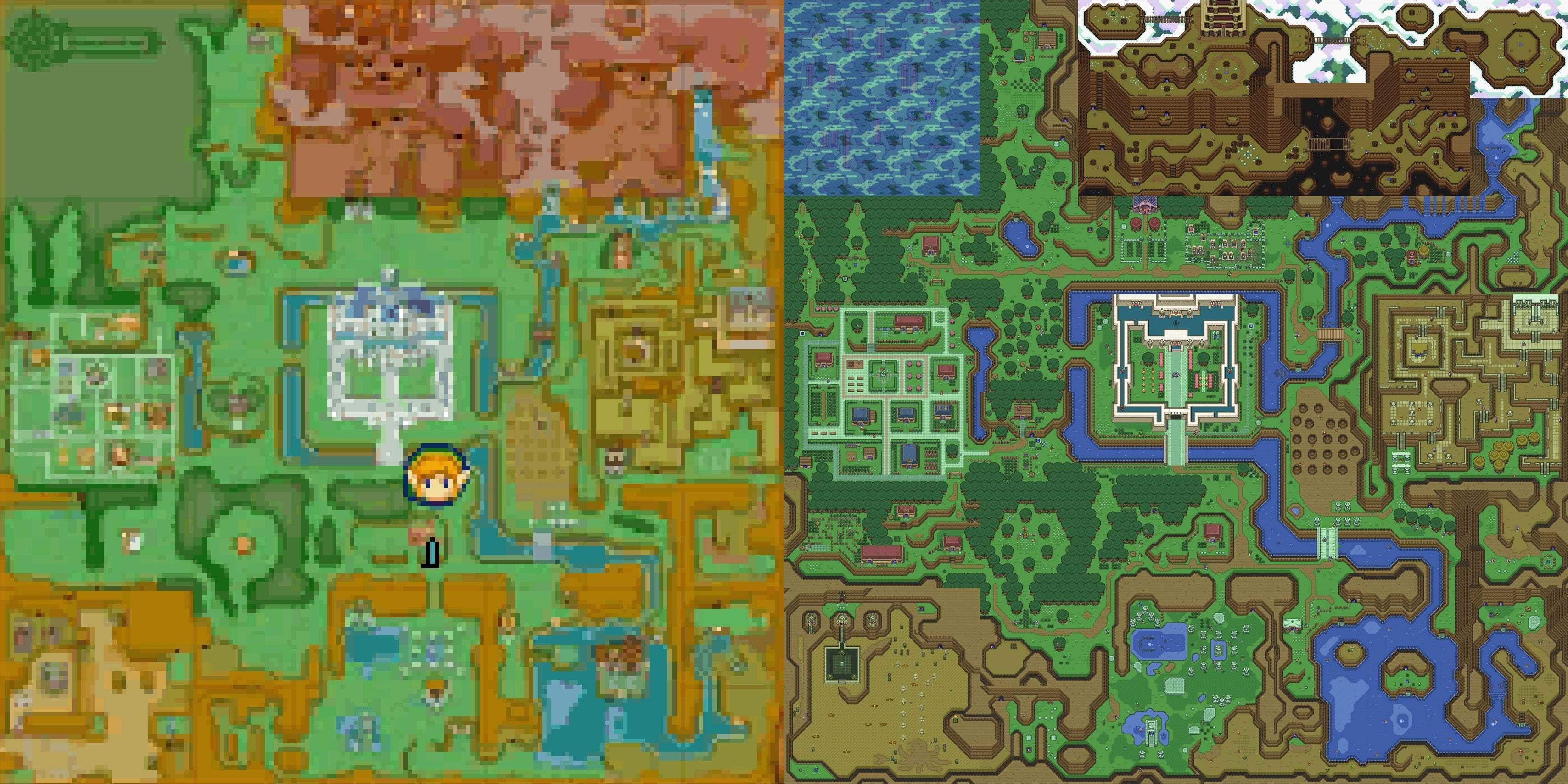 Overworld map from _A Link Between Worlds_