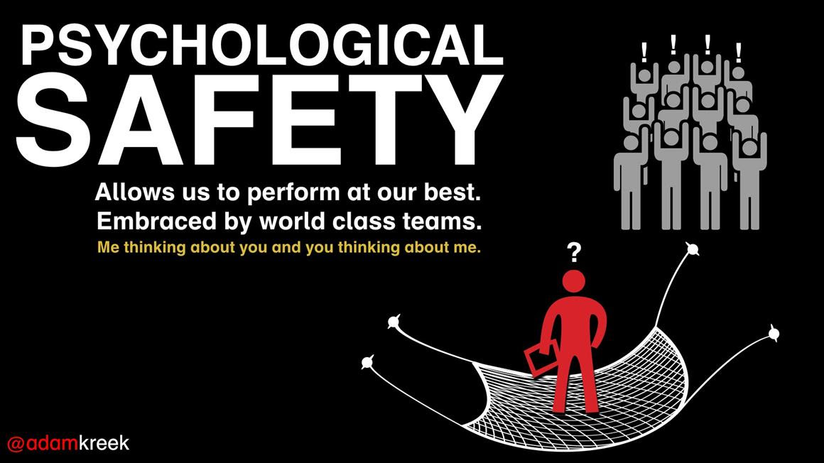 You perform best when you are psychologically safe. The best teams are psychologically safe. When we feel safe enough to voice our opinions, we increase the effectiveness of our team.