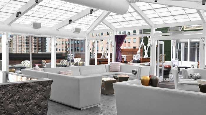 Located on the rooftop of the Hilton Garden Inn Times Square is The Attic.  This rooftop lounge is available seasonally for corporate functions, receptions and private events.  Call our Sales Team at 212-707-4700 for more information and details on reserving this unique space when booking your group room block.
