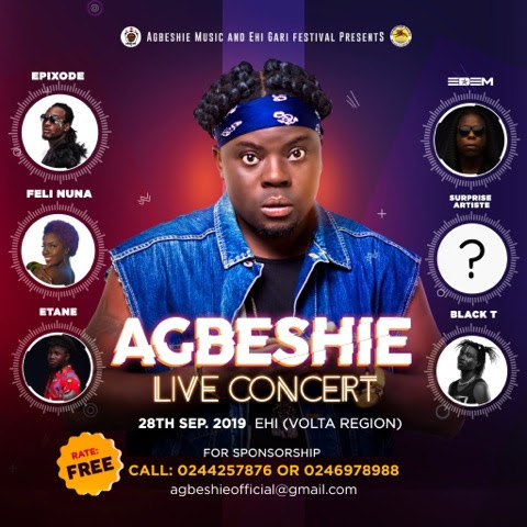 Agbeshie Live Concert Slated for 28th September 2019