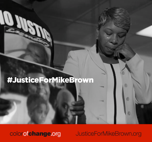 Visit the link to share a powerful #JusticeForMikeBrown image with your friends and family
