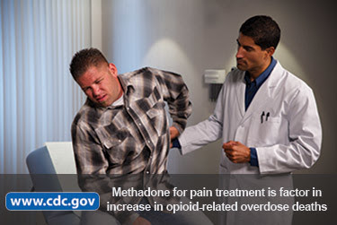 Photo of patient in pain at doctor's office. Methadone for pain treatment is factor in increase in opioid-related overdose deaths. www.cdc.gov