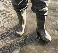 Person in boots walking in floodwater
