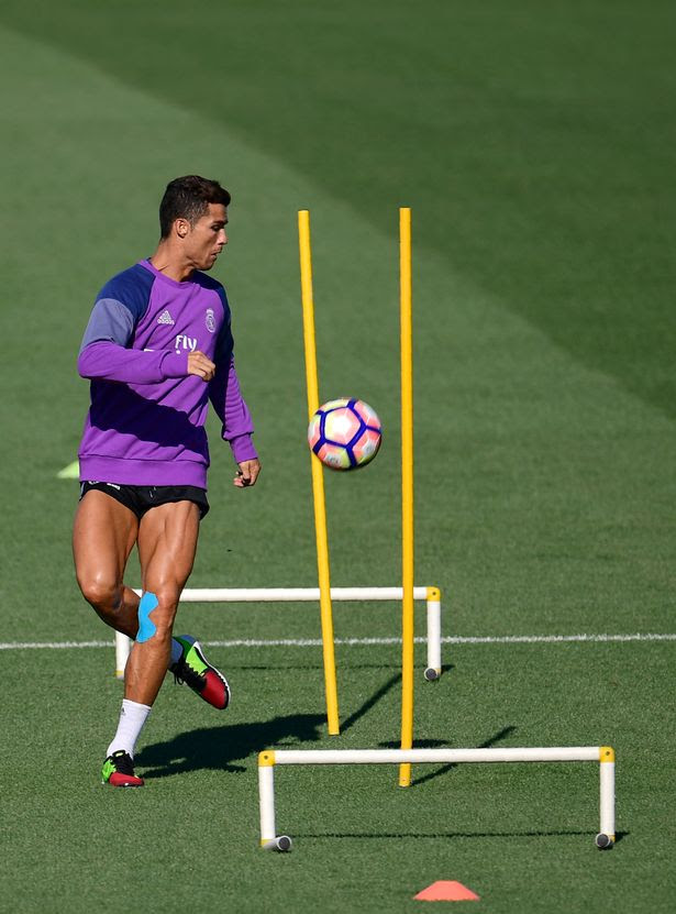 Real Madrid's Portuguese forward Cristiano Ronaldo trains at Valdebebas sport city