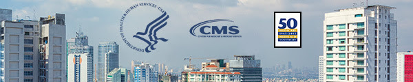 Photograph of city skyline with HHS, CMS and CMS 50th anniversary logos featured in the sky