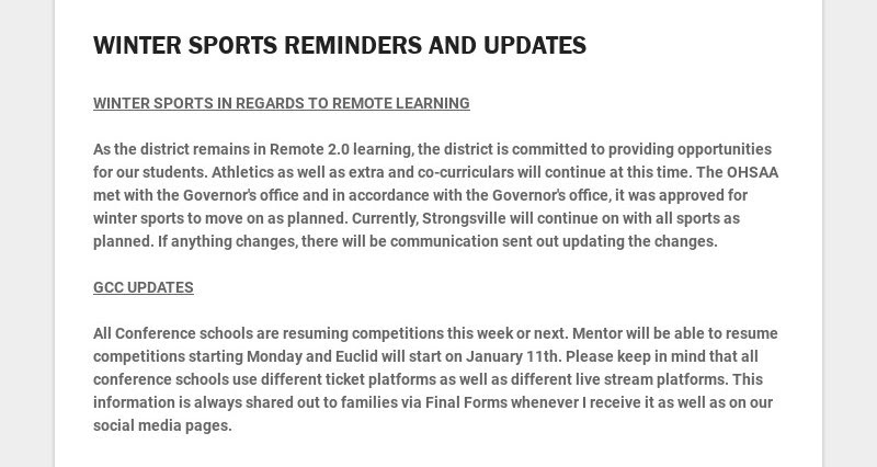 WINTER SPORTS REMINDERS AND UPDATES WINTER SPORTS IN REGARDS TO REMOTE LEARNING As the...