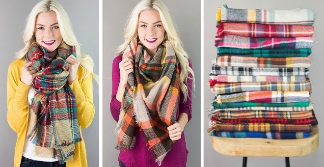 *HOT* Plaid Blanket Scarves &a...