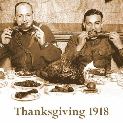 Enjoying a thanksgiving dinner in 1918