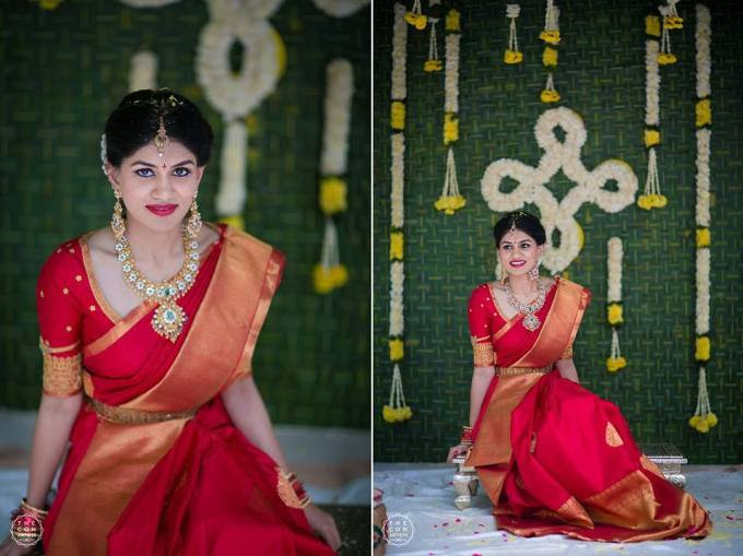 Red saree and Green leaf decor