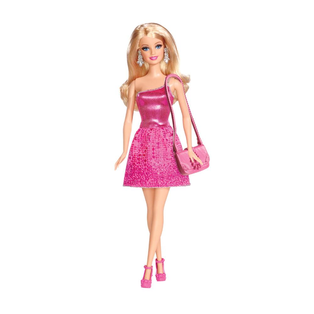 Barbie Boneca Básica Glitz - Vestido Rosa - Mattel