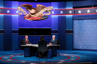 Senator Tim Kaine of Virginia and Gov. Mike Pence of Indiana at the vice-presidential debate on Tuesday.
