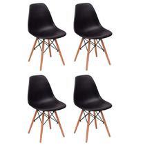 Conjunto 4 Cadeiras Charles Eames Eiffel Wood Base Madeira - Preta