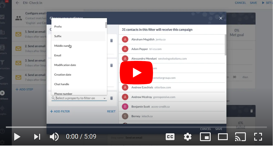 salesflare how-to video on email workflows