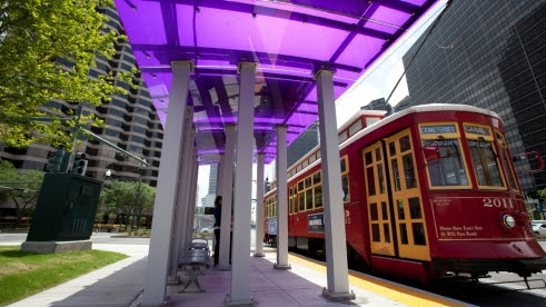 Street car stop in New Orleans.